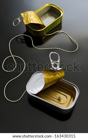 Two cans (poorly suited). One cord. One of the most well-known metaphors for communication. Or in communication? - stock photo