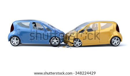 Two Car Accident / Safety Concept. White Background - stock photo