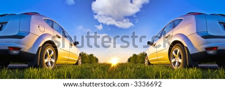 Two car on start - stock photo
