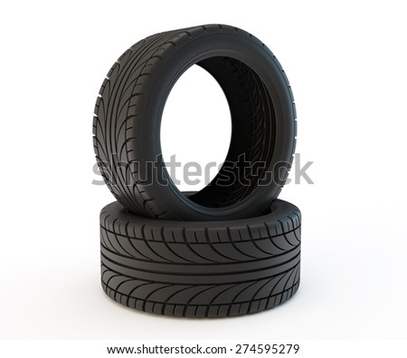 two car tires, one lies - the second  standing - stock photo