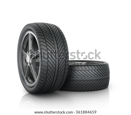 Two car wheels on a white background.