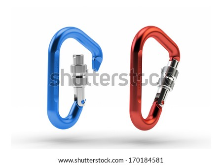 Two Carabiners mountaineering safety equipment isolated on white - stock photo