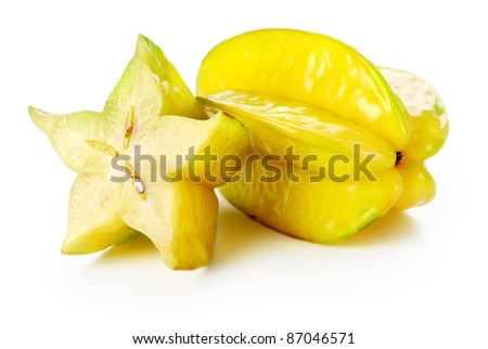 Two carambolas - starfruits isolated on white background - stock photo