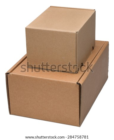 Two cardboard box isolated on white. No shadow. - stock photo