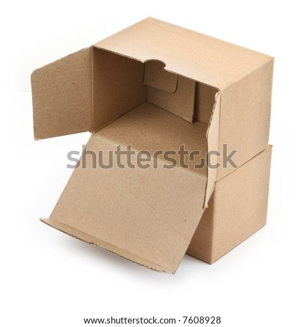 two cardboard boxes against white background, small natural shadow underneath