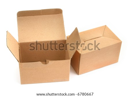 two cardboard boxes againt white background, minimal shadow among - stock photo