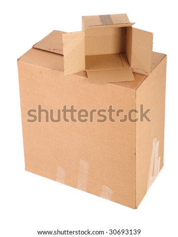 two cardboard boxes on white background