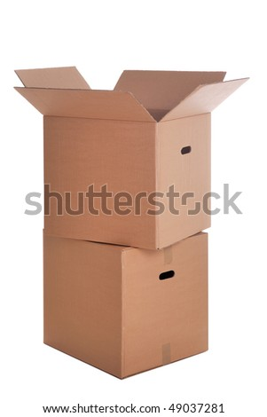 Two cardboard boxes stacked ,isolated on a white background. - stock photo