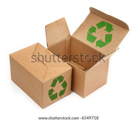 two cardboard boxes with recycle symbol on white background, minimal shadow among - stock photo