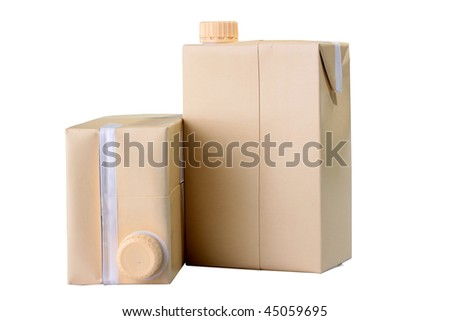 Two cardboard containers for juice or milk with plastic covers. - stock photo