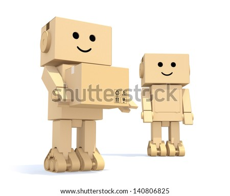 Two cardboard robots with depth of field - stock photo