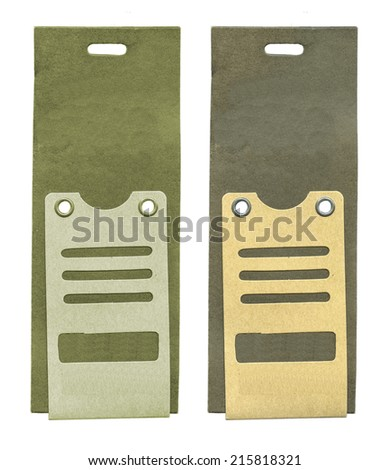two cardboard tags isolated on white background - stock photo