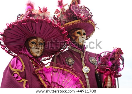 Two Carnival masks in Venice, Italy. - stock photo