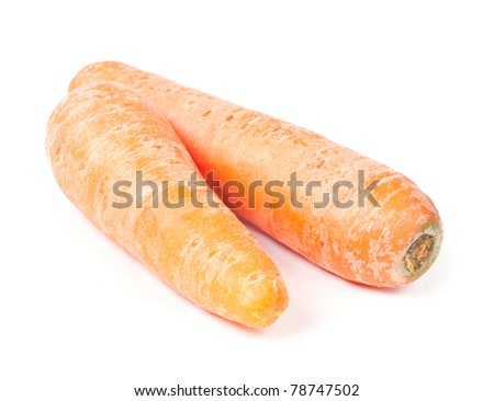 Two carrots lying on white background isolated - stock photo