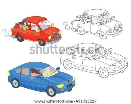 Two cars. Coloring book. Coloring page. Illustration for children. Cute cartoon characters isolated on white background - stock photo