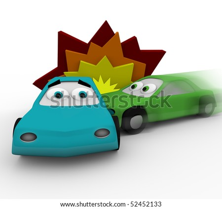 Two cars crash in a vehicle accident - stock photo