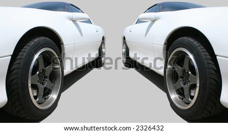 Two Cars Isolated on Grey