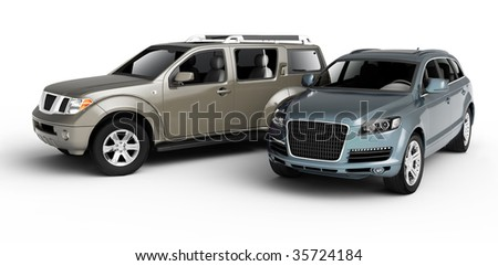 Two cars presentation. Isolated on white background. - stock photo