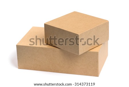 Two Carton boxes stacked isolated on a white background