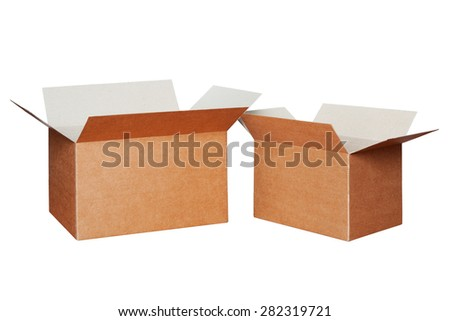 Two cartons of different sizes isolated on white - stock photo