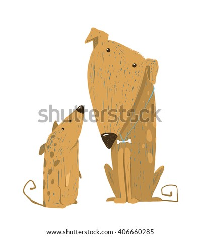 Two cartoon brown dog parent and kid. Animal pet friend, drawing puppy, breed doggy. Raster variant. - stock photo