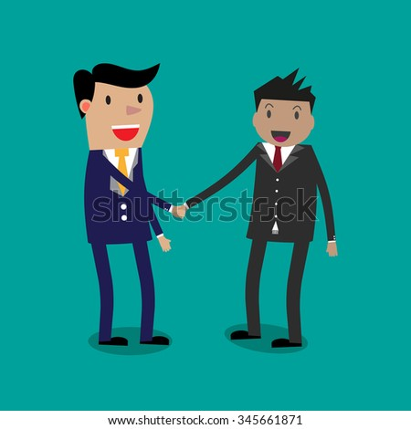 Two Cartoon Businessmans shaking hands. illustration on green backgound. shaking hands. successful transaction - stock photo