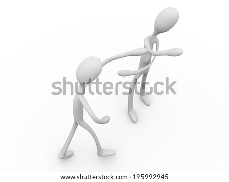Two cartoon characters fighting and boxing each other. - stock photo