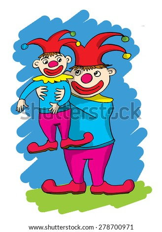 Two cartoon clowns, one big one small - stock photo