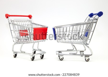 two carts of purchase of white mud - stock photo