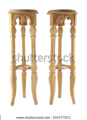 two carved from wood support for flowers and pots (holder) made of wooden  on three legs
