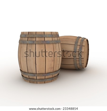 two casks - stock photo