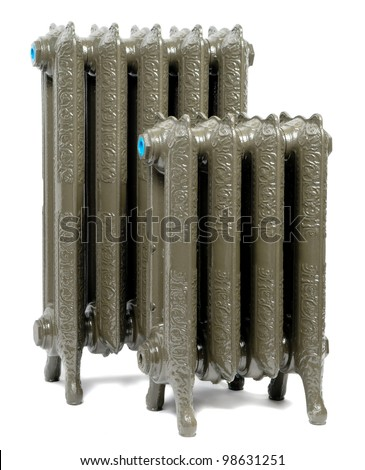 Two cast iron radiator for home, isolated - stock photo