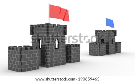 two castles with the flag competition for use in presentations, manuals, design, etc. - stock photo