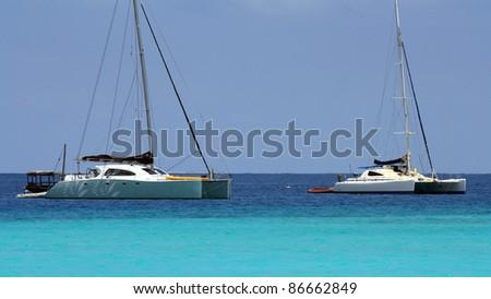 Two catamarans in Zanzibar on a sunny day - stock photo