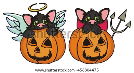 two cats in costume angel and devil sitting in pumpkins - stock photo