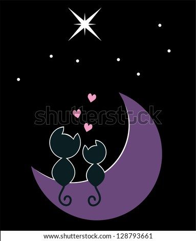 two cats in love sitting on the moon - stock photo
