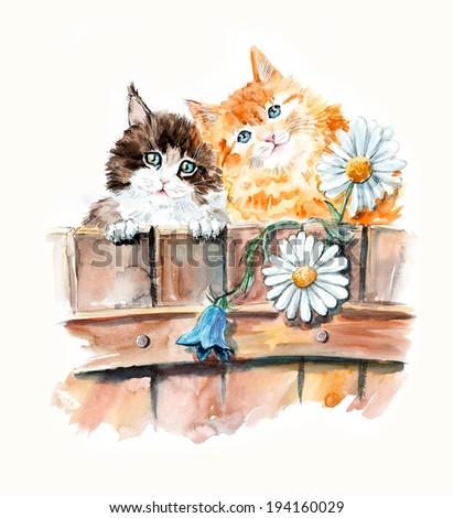 Two cats on a fence with flowers. Ridiculous kittens background, watercolor composition. Hand-drawing water color. Illustration. - stock photo