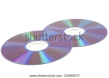 Two CD/DVD discs with bottoms facing up. Shot with infinity white background - stock photo
