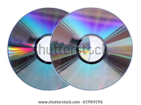 Two CD / DVD disks isolated on white. No scratches or dust. - stock photo