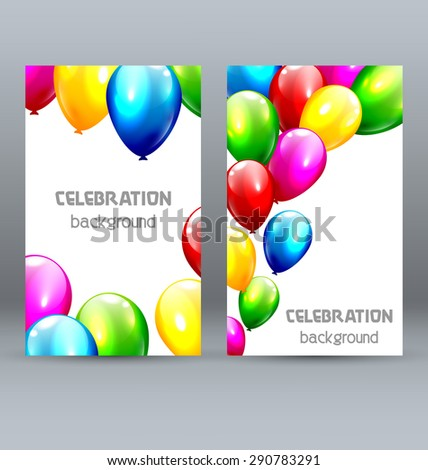 Two Celebration Greet Cards with Inflatable Bright Balloons - stock photo