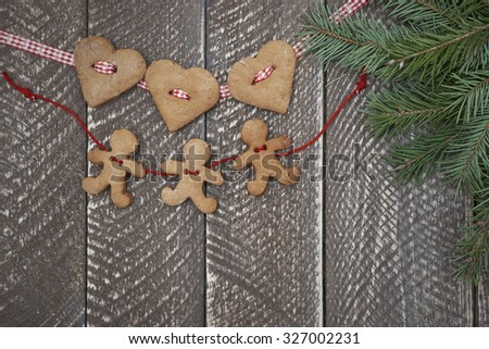 Two chains of gingerbread cookies