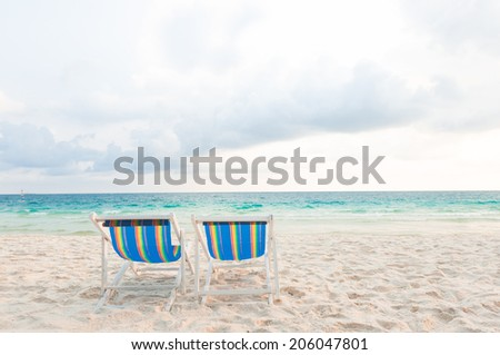 Two chair for relaxation at the beach