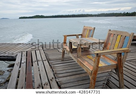 Two chairs for rest on the sea