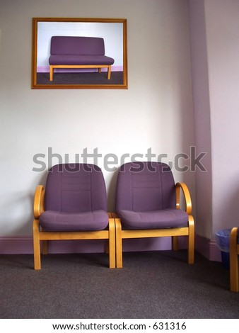 Two chairs in dentists waiting room. N.B. picture in frame has been replaced with another from the series that I took