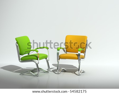 two chairs near wall - stock photo