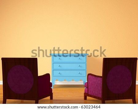 Two chairs opposite wooden bedside in minimalist interior - stock photo