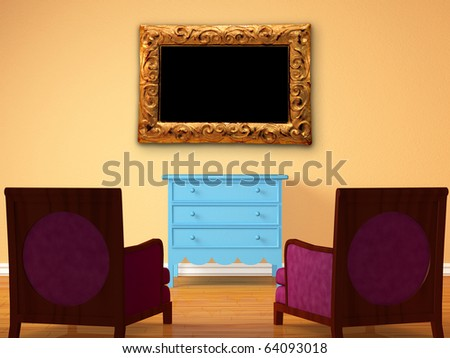 Two chairs opposite wooden bedside with frame in minimalist interior - stock photo