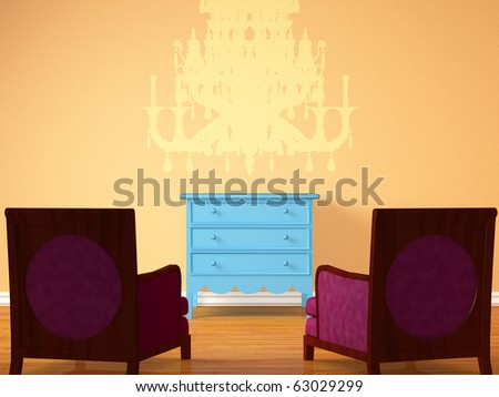 Two chairs opposite wooden bedside with silhouette of chandelier in minimalist interior - stock photo