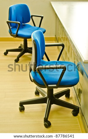 two chairs with nobody in office