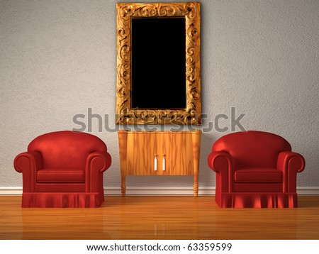 Two chairs with wooden console and modern frame in minimalist interior - stock photo